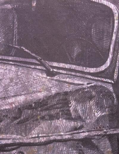 Dettaglio opera d'arte che rappresenta un'automobile