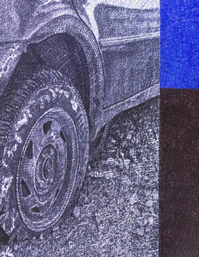 Dettaglio di un'opera d'arte che rappresenta un auto