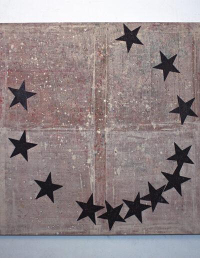 Quadro con stelle esposto in galleria a milano